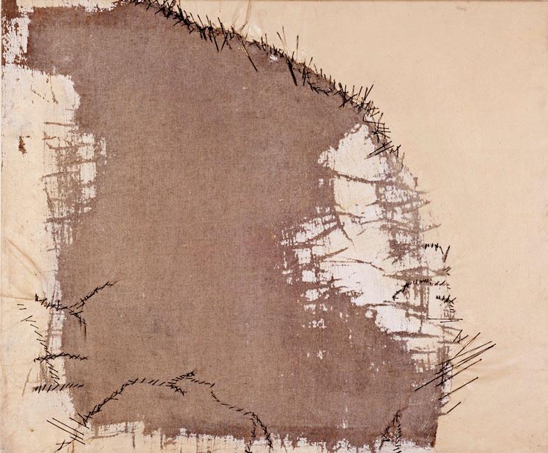 Olio e corda su tela  lavorata (75 x 90 cm)