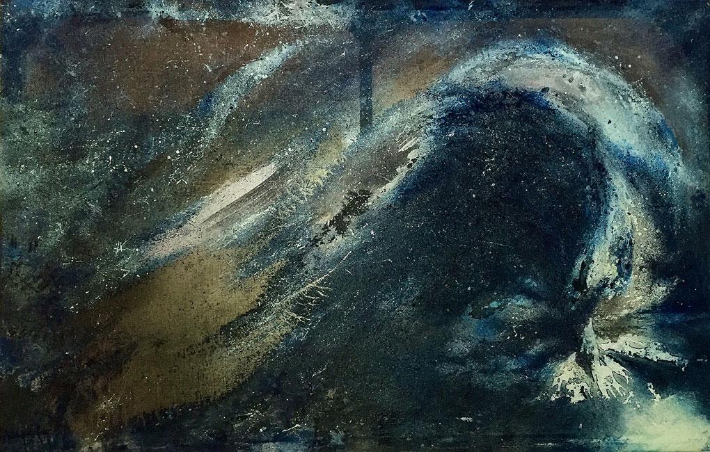 BLUE DESIRES I - Olio su tela lavorata e  retroilluminata (130 x 210 cm)