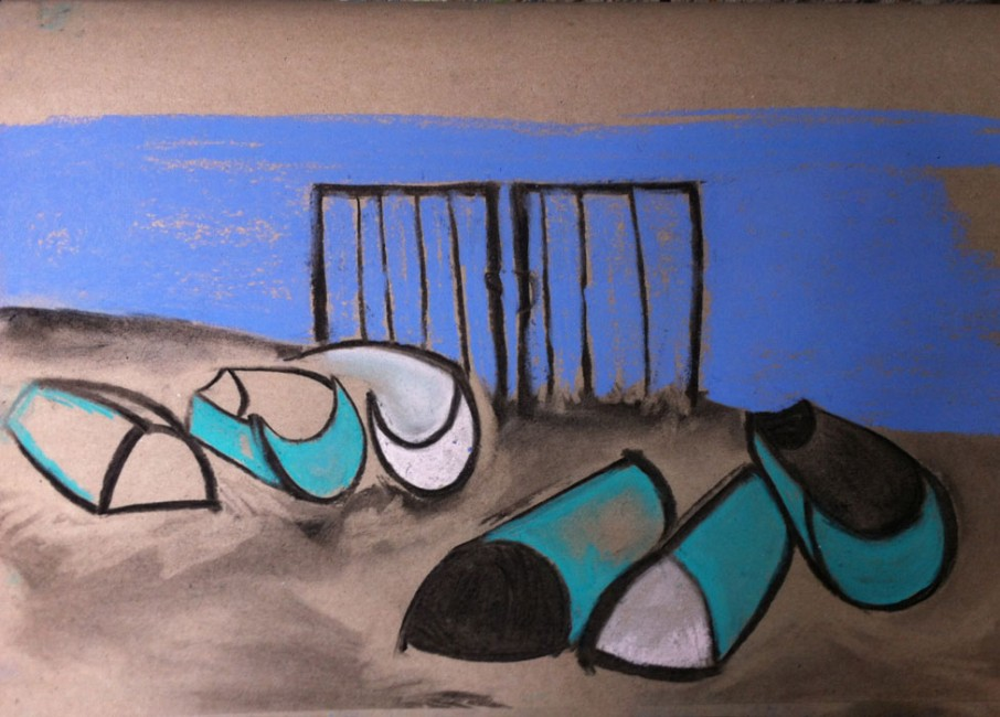 MARINA IV - Pastels and charcoal on recycled paper (30 x 42 cm)