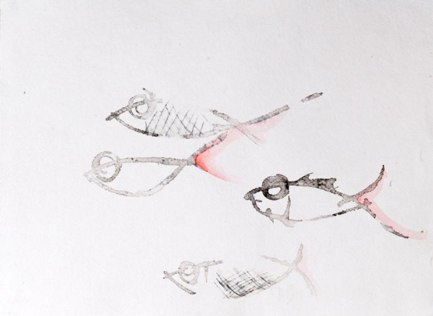 PESCI III - Acquerello, china e incisione su carta giapponese (31 x 43 cm)