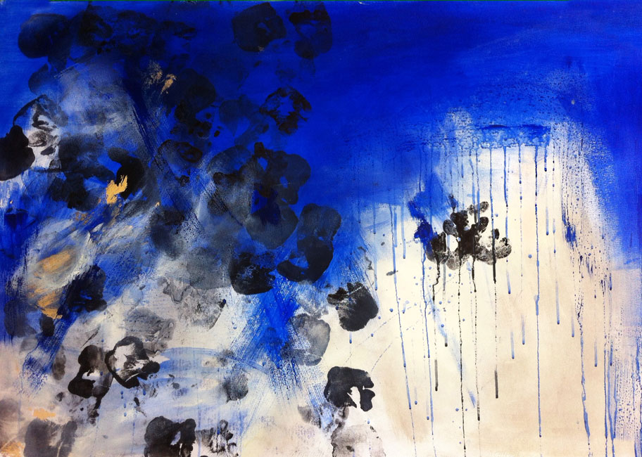 Blue skies - Acrilico, china, foglia  oro ed incisione su  carta Canson (75 x 110 cm)