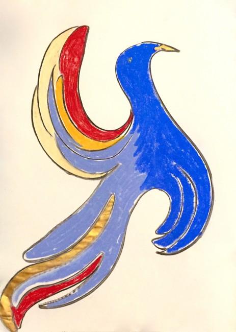 Pastelli colorati, carboncino e tempera su carta (42 x 30 cm)