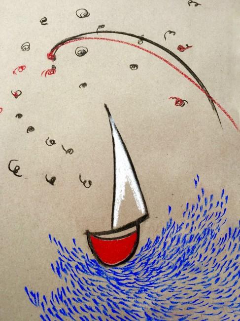 MARINA VI - Pastelli colorati su carta riciclata (42 x 30 cm)