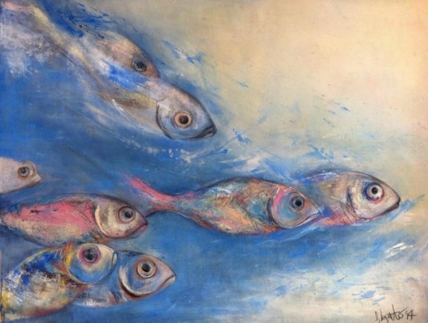 Olio, acrilico, pastelli colorati e china su tela cotone (89 x 130 cm) - 2014