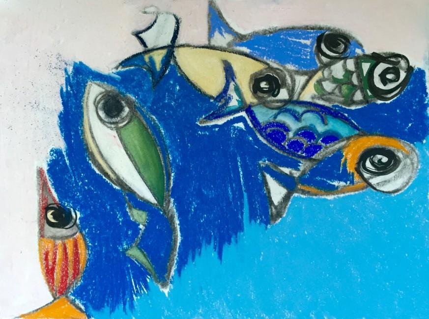 EL PEIX CATALÀ- China e pastelli colorati su carta (31x 43 cm)