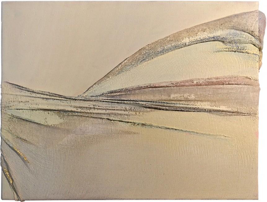 AIR I - Acrilico, foglia oro su tela e garza (23 x 27 cm)