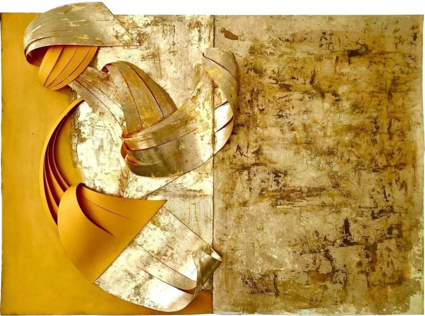 Scultura. Foglia oro e acrilico su carta (160 x 80 x 20 cm)