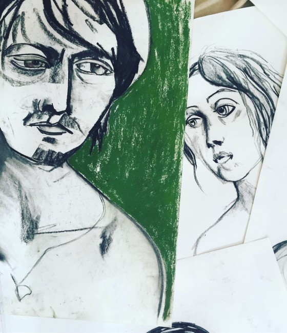 Charcoal, colored pastels on paper (60 x 50cm each)