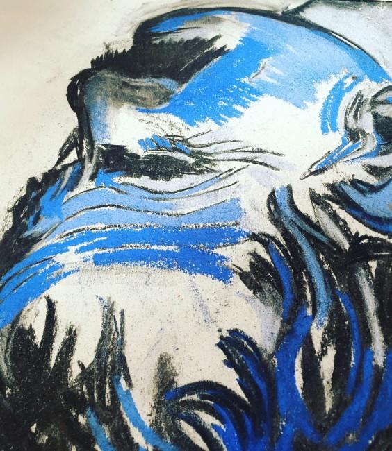 Carboncino, pastelli colorati su carta (60 x 50 cm)